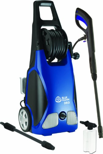(AR Blue Clean AR383 1,900 PSI Electric Pressure Washer, Nozzles, Spray Gun, Wand, Detergent Bottle & Hose)