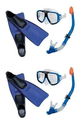 Intex Reef Rider Kids Swimming Diving Mask, Snorkel & Fins (Set of 2) | 55957