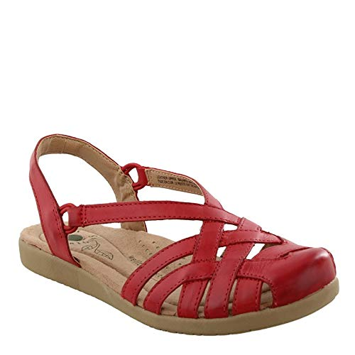 (Earth Origins Women's, Nellie Low Heel Sandals RED 8 M)