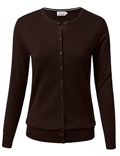 Nylon Cardigan Cotton - Women Button Down Long Sleeve Crewneck Soft Knit Cardigan Sweater M Brown