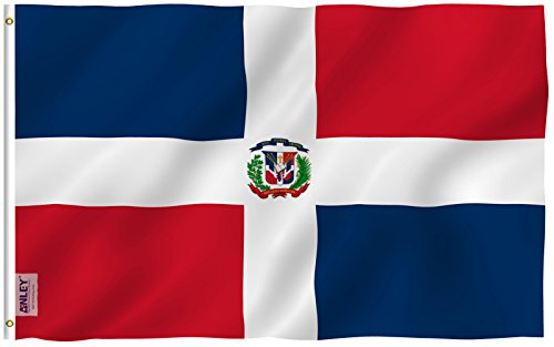 Anley Fly Breeze 3x5 Foot Dominica Flag - Vivid Color and UV Fade Resistant - Canvas Header and Double Stitched - Dominican National Flags Polyester with Brass Grommets 3 X 5 Ft