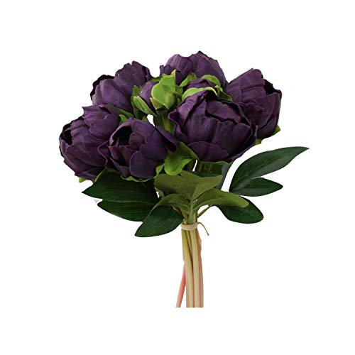 Angel Isabella, LLC Real Touch Peony Bouquet-6blooms 2buds Perfect for Home Decor Wedding, DIY Bouquet Corsage Centerpiece PU Realistic Feel (Deep Purple)