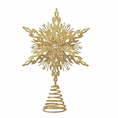 Kurt Adler Metal Glitter Star Treetop, 12-Inch, Gold