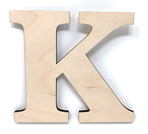 """Gocutouts 12"""" Wooden K Unfinished Wooden Letters Paint Ready Wall Decor News (12"""" - 1/4"""" Thick, K)"""