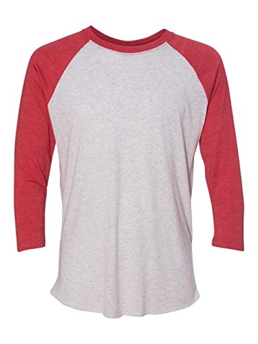 Next Level Apparel 6051 Unisex Tri-Blend 3 By 4 Sleeve Raglan - Vintage Red & Heather White, Extra Large ()