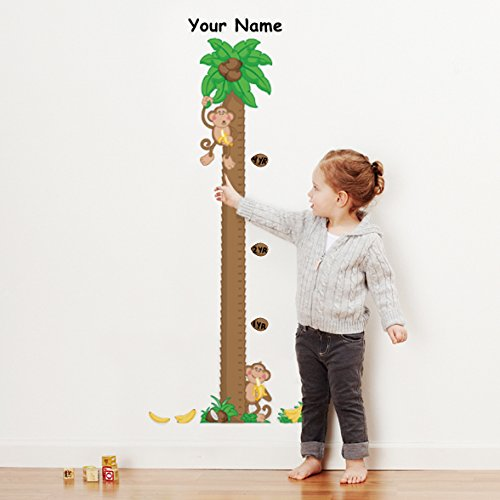 Personalized Monkeys Growth Chart Wall Decal for Nursery, Kids Room Oliver's Labels