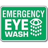 Engineer-Grade Reflective Polyethylene Heavy-Duty First Aid & Eyewash Sign - Emergency Eye Wash with Graphic - 18''h x 24''w