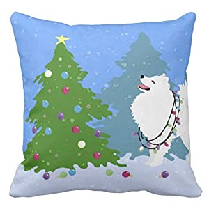 CELYCASY American Eskimo Dog Decorating Christmas Tree Decorative Pillow Case Cushion Cover Sofa Bedroom Lumbar Throw Pillow Case 18x18 inches 15