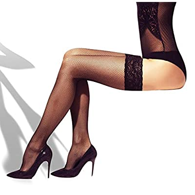 MILA MARUTTI Fishnet Thigh High Stay up Stockings Lace Top Silicone Top Nylon Hosiery: Clothing