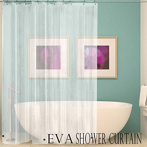 Price comparison product image Mildew Resistant Shower Curtain Liner Clear Waterproof 79x79 Inch Odorless Eco Friendly Anti Bacterial Shower Bath Curtain Bathroom Decorations (Clear)