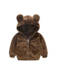 Tianhaik Toddler Baby Boy Girl Fleece Cute Bear Coat Spring/Fall Hooded Warm Jacket Outwear