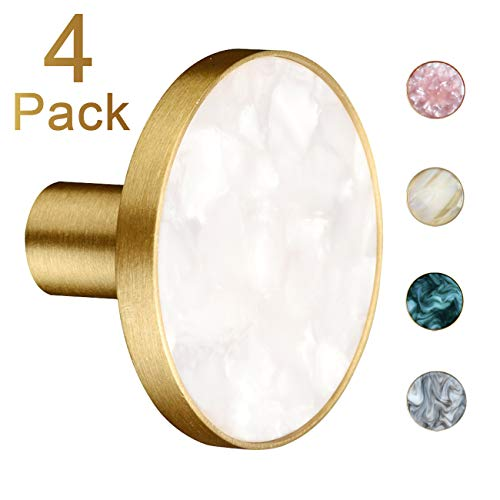 Qogrisun 4 Pack Premium Solid Brass Round Cabinet Hardware Knobs Cupboard Pulls and Kitchen Drawer 1.3inches/33mm Dia,Brushed Brass White Shell (For Knobs Dresser Gold)