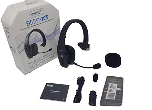 BlueParrott B550-XT Bluetooth Headset Bundle 204165 MW | Includes Mobile Wallet Protector | Streaming Music, and NFC Ready | 100% Voice-Controlled Rugged Headset | Water, Dust Resistant - IP54 Rated