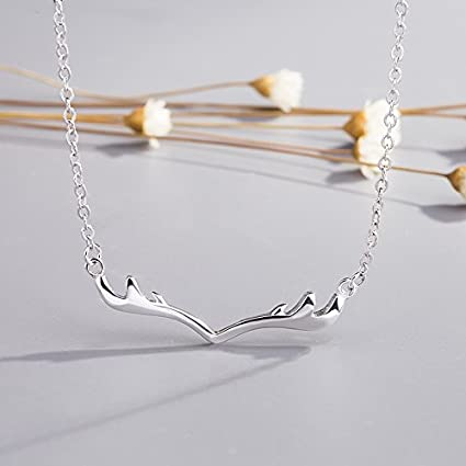 878a6b486 Amazon.com: usongs Christmas snow Sang jewelry necklace pendant women girls  short paragraph Sen Department elk clavicle chain necklace pendant simple  ...