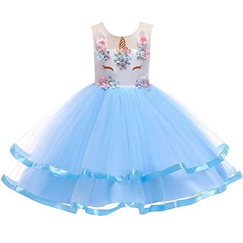 Unicorn Party Princess Tutu Dress for Big Girls First Communion Dress Ball Gown Wedding Dress Birthday Costume Fancy Dress Blue Dress Only 11-12 Years ()
