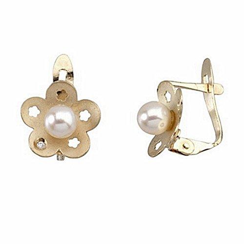 Boucled'oreille 18k diamant or brillant perle 0,00525ct [6668P]
