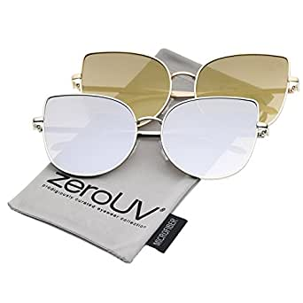 zeroUV Women's Oversize Slim Metal Frame Colored Mirror Flat Lens Cat Eye Cateye Sunglasses, 2 Pack | Gold / Gold + Silver / Silver, 58 mm