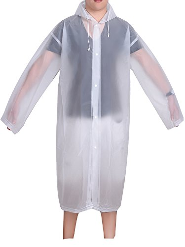 Mudder Portable Raincoat Rain Poncho with Hoods and Sleeves (White,Adult Raincoat)