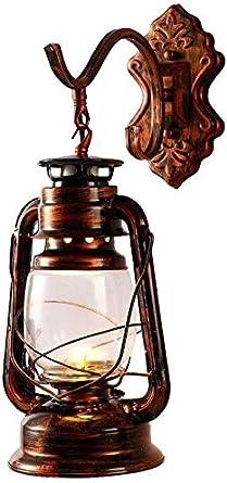 Apliques de pared Lámpara de pared de la vendimia Barn linterna, persiana antiguo keroseno del hierro de cristal, montaje en pared Luz antiguo de la vendimia (sin bombilla)