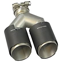 "Carbon Fiber Stainless Steel Dual Tip Y-Pipe Exhaust Muffler Tip - 2.5""/3"" inlet and 3.5"" outlet (: 2.5'' Inlet)"