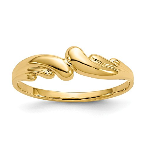 Size - 7.5 - Solid 14k Yellow Gold Polished Swirl Dome Ring (1 to 6 mm) (Polished Swirl Ring Dome)