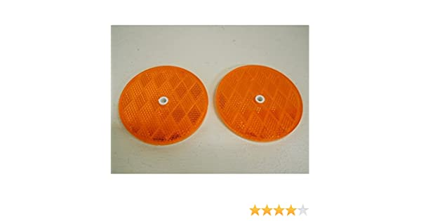 "Pair 2 Amber Reflectors//Reflective Mounting Bolts 3//16/"" x 5//8/"" Long"