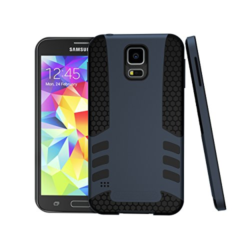 Galaxy S5 Case, ToughBox [Titan Series] [Slim-Fit] [Non-Slip] [Dual-Layer] [Dark Titanium Blue] for Samsung Galaxy S5 Case Protective Hard Cover