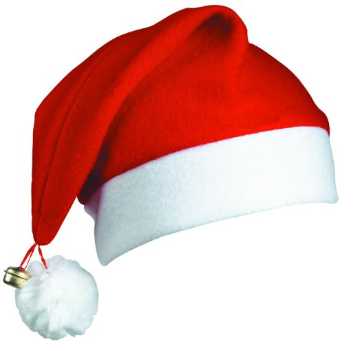 12 SANTA HATS - PACK OF 12 DELUXE CHRISTMAS SANTA CAPS WITH BELL ...