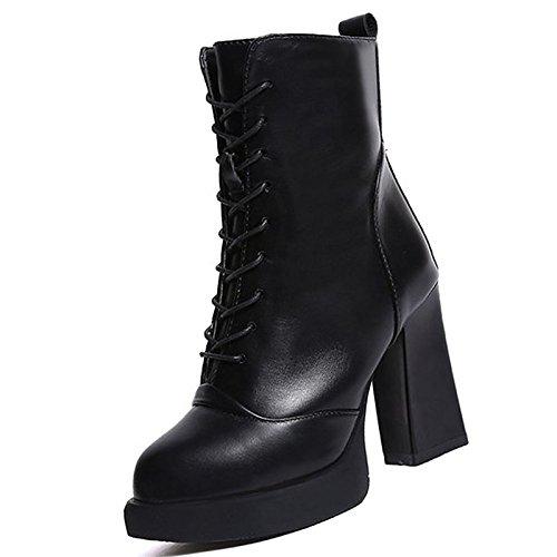 inverno Stivali per HSXZ Calf Stivali Scarpe Mid donna Black tallone Nero combattere scarponi tonda pu Casual punta Chunky q616tYF