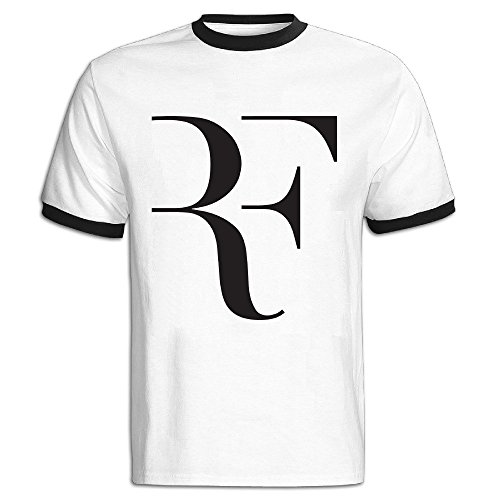 FENGTING Men's Roger Federer Logo Tenis T-shirt Size L Black