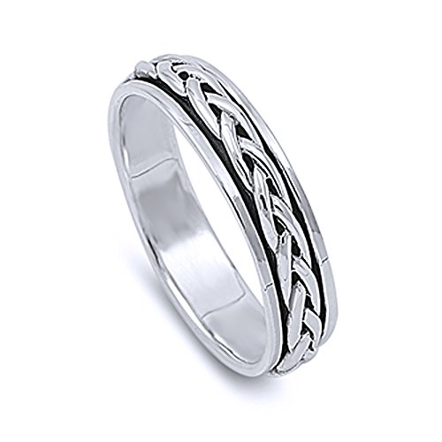 Sterling Silver Wedding & Engagement Ring Braided Design Spinner Ring 5mm (Size 4 to 14) Size 6