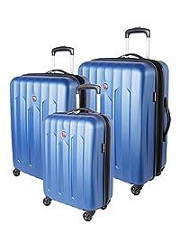 Swiss Gear Chrome Hardside 3 Piece Spinner Luggage Set, Blue