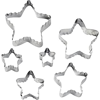Wilton 417-2584 6-Piece Nesting Fondant Double Sided Cut Out Cutters, Star