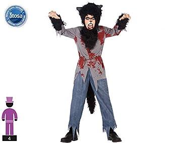 Atosa-55654 Disfraz Lobo Sangriento para Niño Infantil Color negro ...