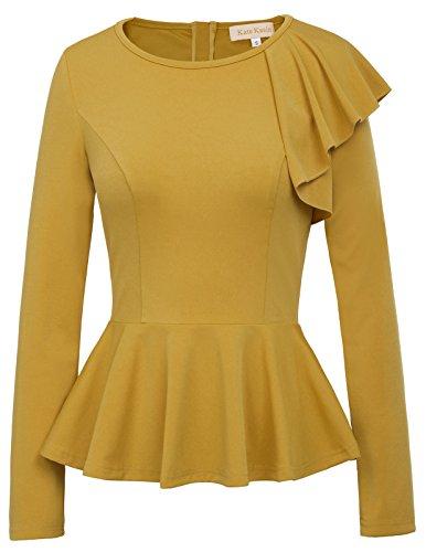 Kate Kasin Stretchy Long Sleeve Peplum Shirt for Women Zipper Tunic Tops (XL,Yellow)