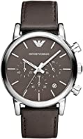 Emporio Armani classic men's brown dial leather chronograph watch AR1734