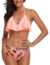 9a5d460618 Women Flounce Swimsuits Girls Falbala Bikini Set High Waist Bikini Bottom  Retro Swimsuit Bathing Suits