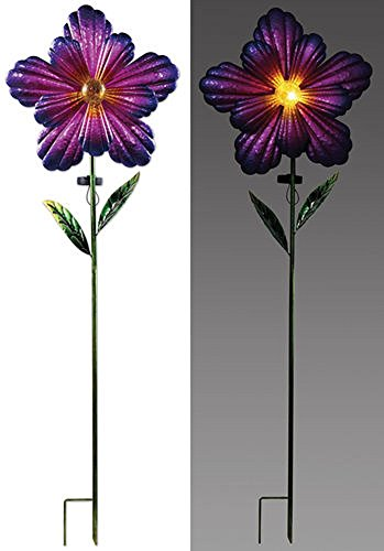 Sunset Vista Designs 92673 Pink Flower Spinner Stake, Solar Powered Light (Feeder Crackle Hummingbird)