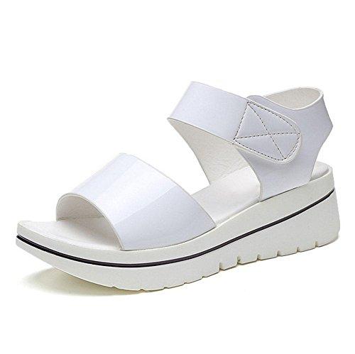 Salvajes Grueso Sandalias Zapatos Estudiantes De Mujer Blanco Peluche Para Con Estilo Meili Casual Vacío Fondo 7aPna0x