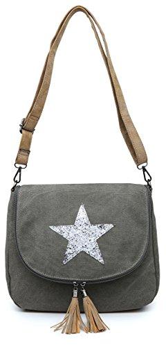 Big Handbag Shop Canvas Fabric Trendy Flapover Zip Round Tassel Medium Size Glitter Star Bucket Style Cross Body Shoulder Bag Grey