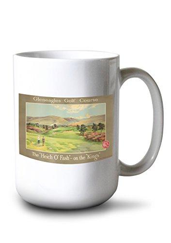Gleneagles Golf Course Vintage Poster (Artist: Anonymous) UK c. 1928 (15oz White Ceramic Mug)