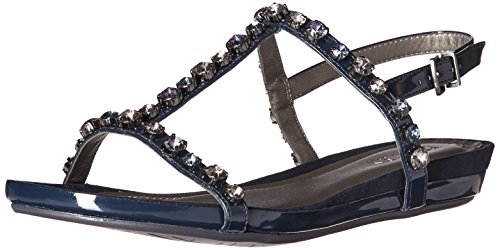 Kenneth Cole REACTION Women's Lost Catch Flat Open Toe Gemstone Accents-Patent Gladiator Sandal, Navy, 6.5 M (Kenneth Cole Reaction Gem)