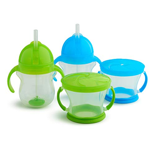 - Munchkin Happy Snacker Snack Catcher and Sippy Cup Set, 4 Count, Blue/Green