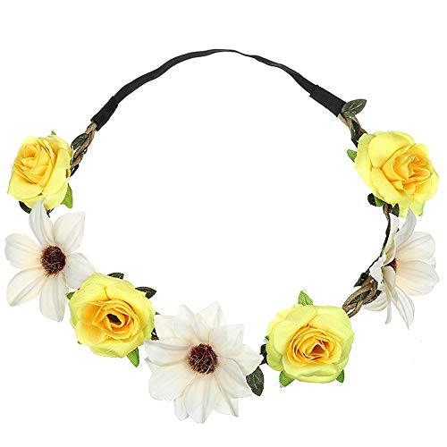 iNoDoZ Boho Hair Headband for Women Floral Flower Festival Wedding Garland Beach Party Cute Hair Accessories Yellow ()