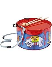 Lena tin toys 52609 - Blikken trommel met zweefmolen Ø 20 cm, kindertrommel van blik, 2 drumstokken, slaginstrument voor muziek maken, muziekinstrument, vanaf 3 jaar, trommel met zweefmolenmotief