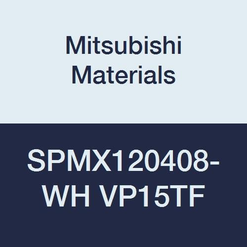 Mitsubishi Materials SPMX120408-WH VP15TF Coated Carbide Milling Insert, Round Honing, Square, 0.5'' Inscribed Circle, 0.187'' Thick, 0.031'' Corner Radius (Pack of 10)