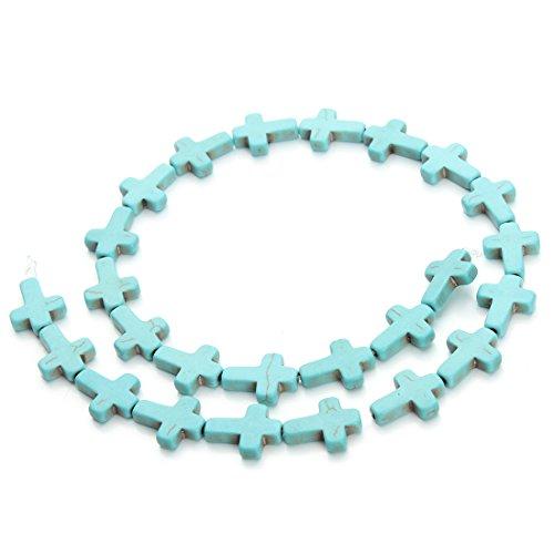 Linsoir Beads Loose Blue Turquoise Cross Beads Nice Gemstone Loose Beads Approx.24pcs/strand 1.2CMX1.6CM