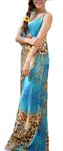 Sexy Jaycargogo Women's 3 Chiffon Dress Collar Length V Mid Stylish Printing qwBw5SfO