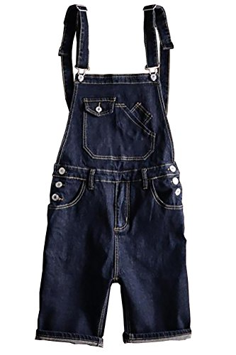 Sokotoo Men's Dark Blue Denim Knee Length Bib Overalls Shorts Size 32 (Length Knee Bib)