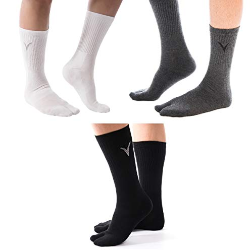3 Pairs Combo - Athletic Flip Flop V-Toe Fun Tabi Toe Socks Thicker Sports Or Casual Style Great Jika Tabi Shoes Or Everyday Flip-Flops